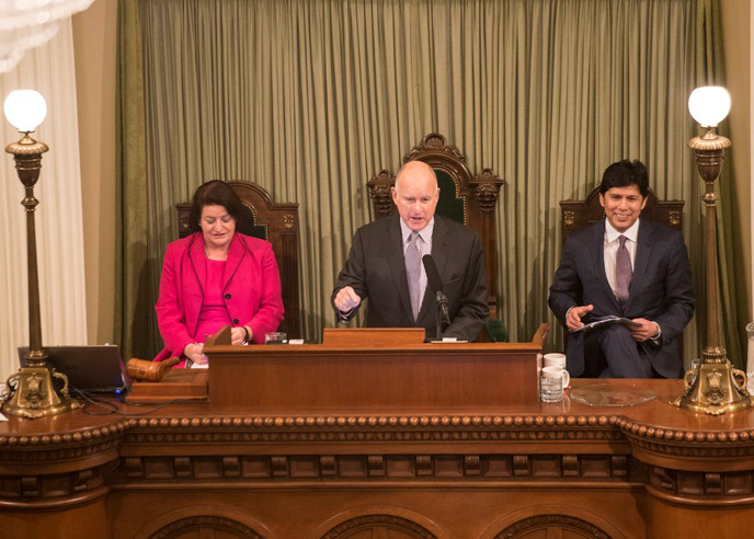 Governor Brown delivering his State of the State address on January 21, 2016